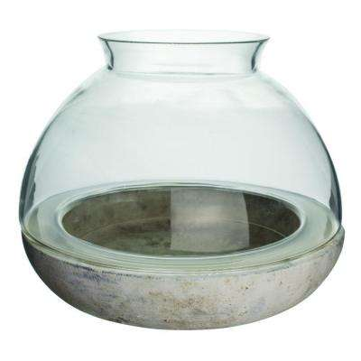10-1/4 in. x 7-7/8 in. Cement/Glass Terrarium
