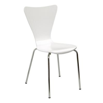 Bent Plywood White Stack Chair with Chrome Plated Metal Legs