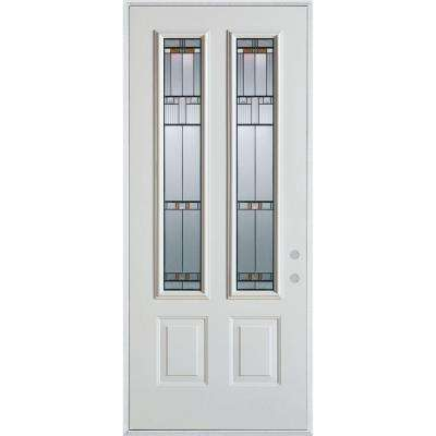 32 in. x 80 in. Architectural 2 Lite 2-Panel Painted White Steel Prehung Front Door