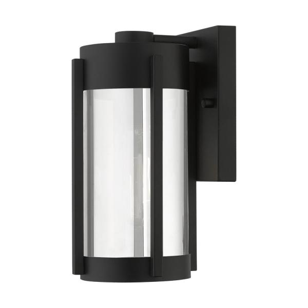 Sheridan 1-Light Black Outdoor Wall Lantern Sconce with Electric Plated Smoke Glass Shade