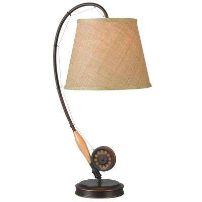 Fly Rod 28 in. Oil-Rubbed Bronze Table Lamp with Wood Accent