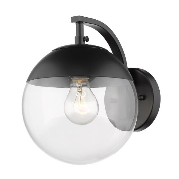 Black Dixon Sconce with Clear Glass and Black Cap