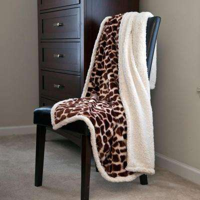 Giraffe Fleece Sherpa Polyester Throw Blanket