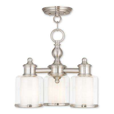 Middlebush 3-Light Brushed Nickel Convertible Mini Chandelier with Hand Crafted Clear and Satin Opal White Glass Shade