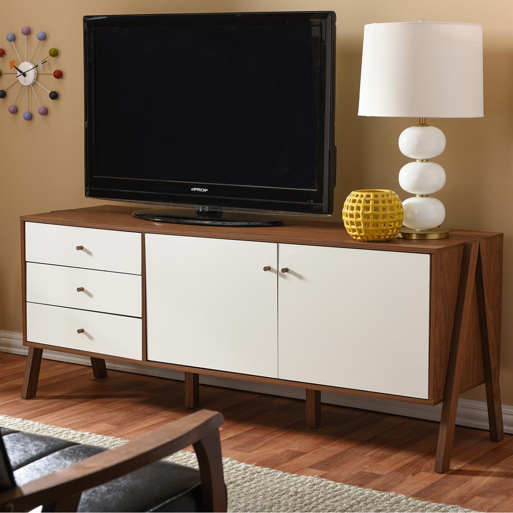 Baxton Studio Harlow Medium Brown Wood and White Finished Wood Storage