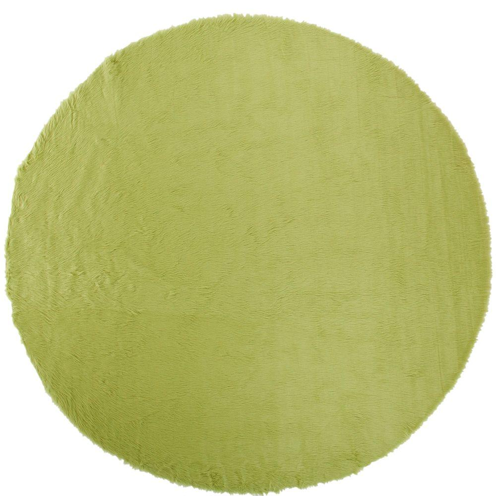 Home Decorators Collection Faux Sheepskin Lime 8 Ft Round Area Rug