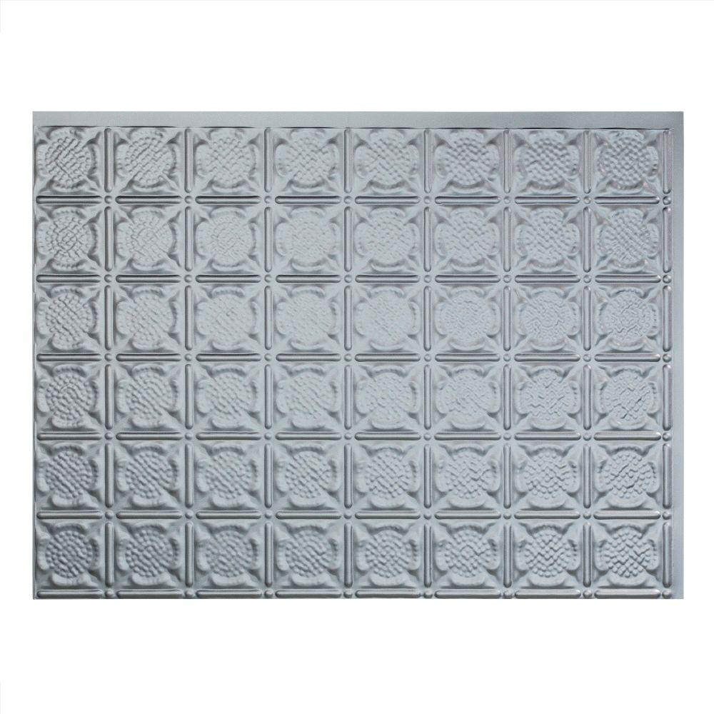Fasade Traditional 6 18 in. x 24 in. Argent Silver Vinyl Decorative ...