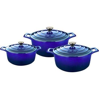 6-Piece Cast Iron Round Casserole Set with Enamel Finish in High Gloss Sapphire