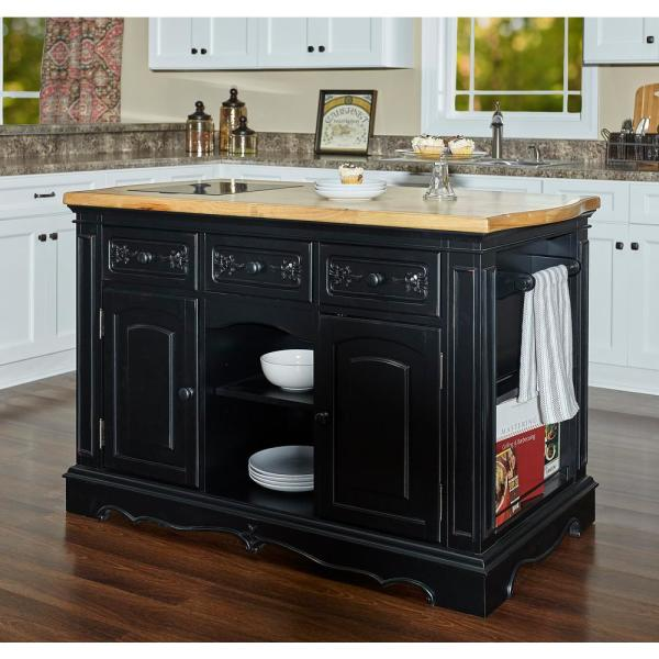 Powell Company Natural Pennfield Black Kitchen Island ...