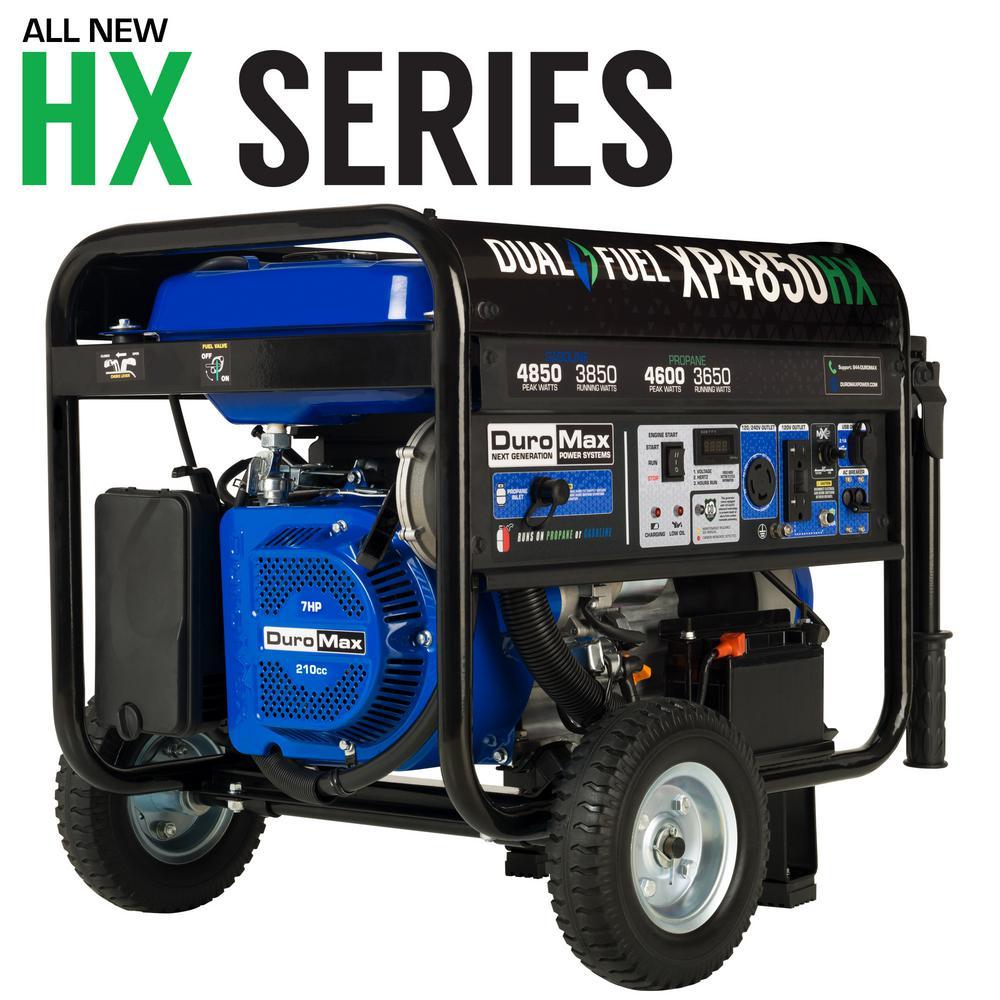 Duromax 4,850-Watt/3,850-Watt Electric Rocker Switch Start Dual Fuel Gas/Propane Powered Portable Generator, CO Sensor, RV Ready