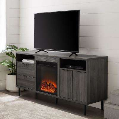 60 in. Slate Grey Modern Storage Fireplace Console