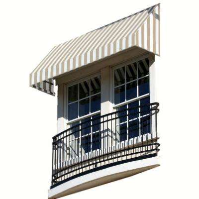 8 ft. New Yorker Window/Entry Awning (16 in. H x 30 in. D) in Linen/White Stripe