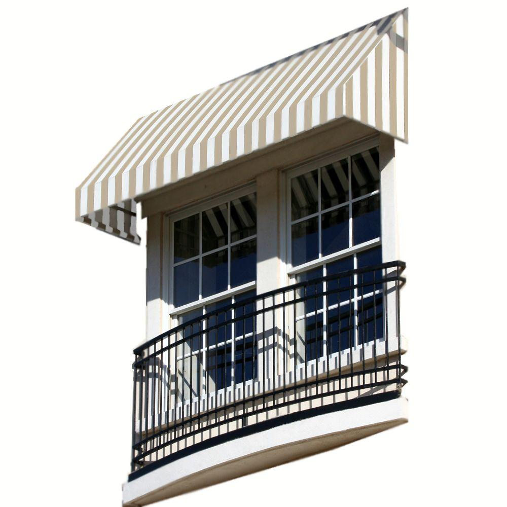 AWNTECH 40 ft. New Yorker Window/Entry Awning (24 in. H x 48 in. D) in Tan / White Stripe