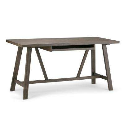 Everly Solid Wood Modern Industrial 60 inch Wide Writing Office Desk in Driftwood