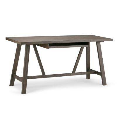60 in. Rectangular Driftwood Finish Writing Desk with Keyboard Tray