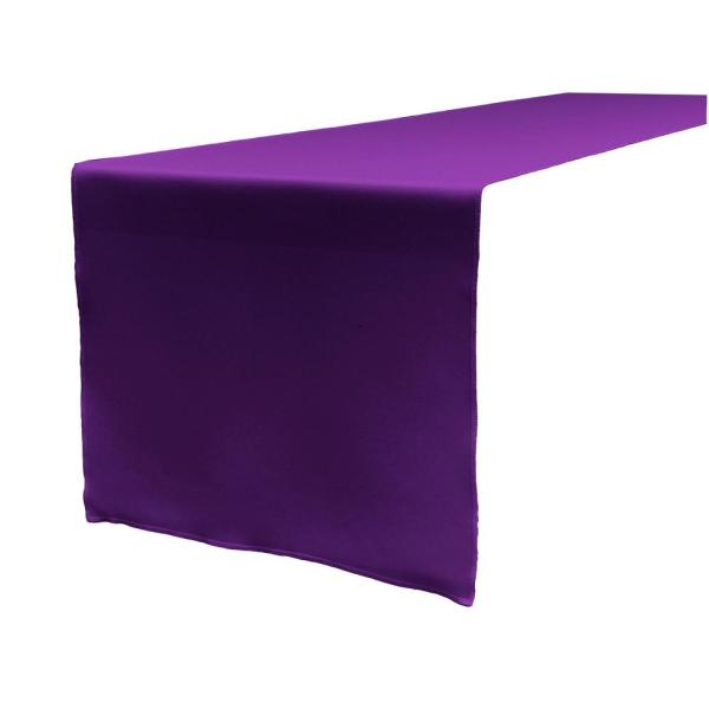 14 in. x 108 in. Purple Polyester Poplin Table Runner