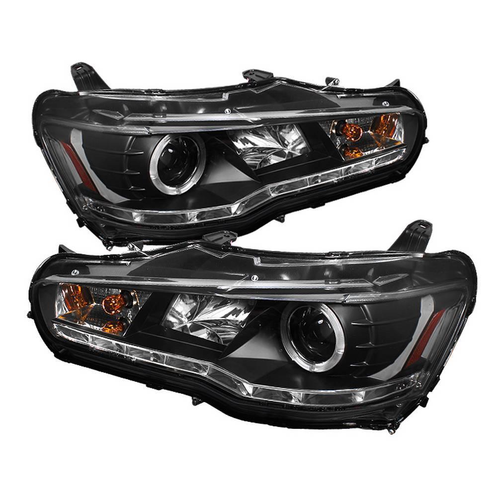 Spyder Auto Mitsubishi Lancer / EVO-10 08-14 Projector Headlights - Halogen  Model Only - LED Halo - DRL - Black