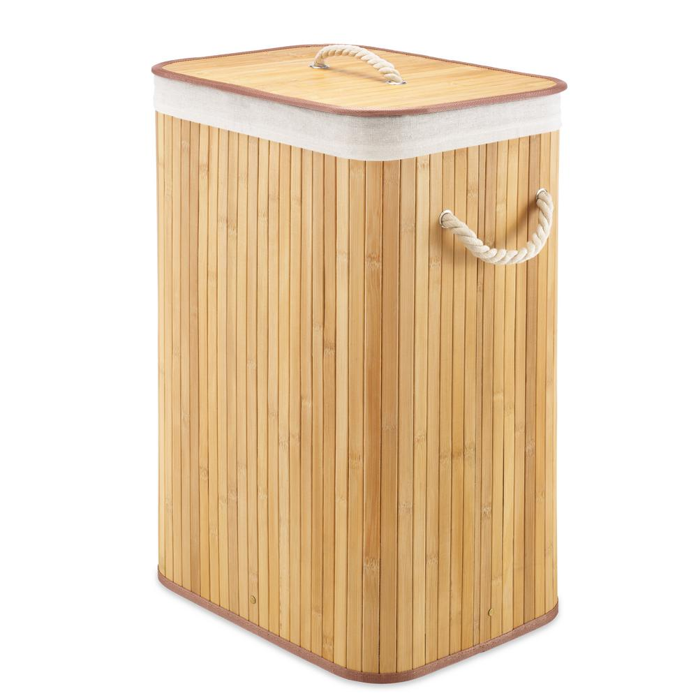 Whitmor Rectangular Bamboo Hamper with Rope Handles