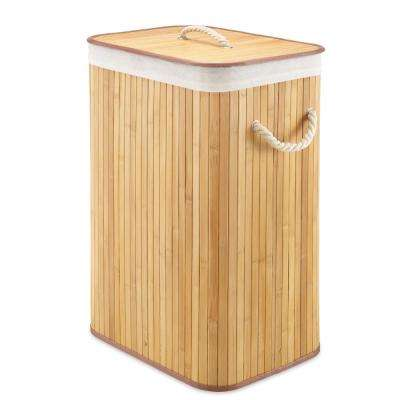 Rectangular Bamboo Hamper with Rope Handles