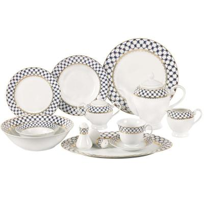 57-Piece Specialty Blue Porcelain Dinnerware Set (Service for 8)
