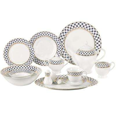 2cabadb2ce4f3 57-Piece Blue Border Porcelain Dinnerware Set. 57-Piece Blue Border Porcelain  Dinnerware Set · Lorren Home Trends ...
