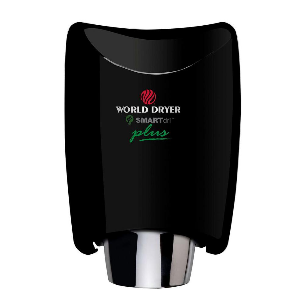 World Dryer SMARTdri Plus Electric Hand Dryer in Black SMARTdri Series high-speed hand dryers are the most energy efficient, durable, hygienic hand dryers on the market today. SMARTdris proprietary motor technology offers the longest service life of any high-speed hand dryer. The intelligent, flexible controls allow customizing of air flow, sound quality and heating options to fit any application. 2-3 times longer service life than competitive high speed . Color: Black.