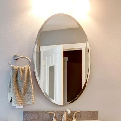 24 in. x 48 in. Oval Beveled Polish Frameless Wall Mirror with Hooks