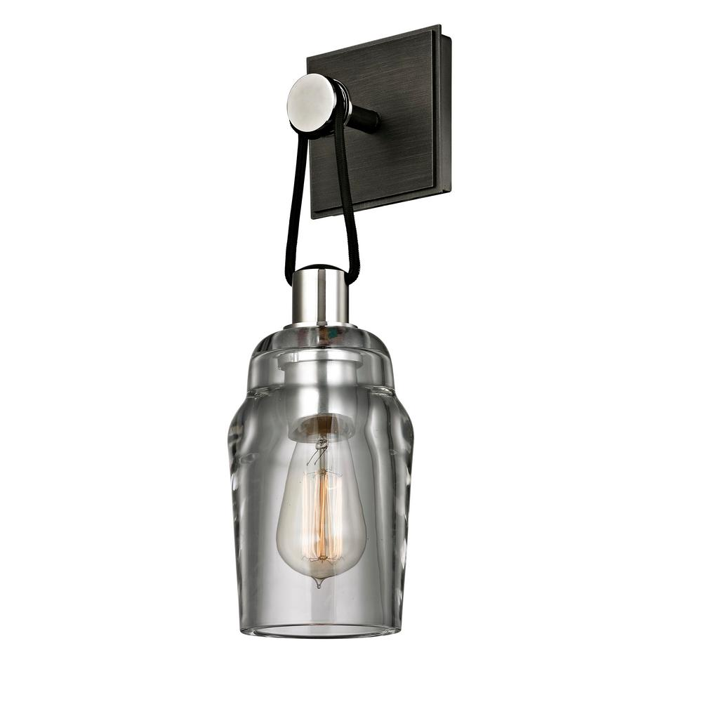 Citizen 1-Light Graphite and Polished Nickel Tall Bath Light with Clear