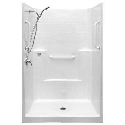 Ultimate-WSA 37 in. x 48 in. x 80 in. 1-Piece Low Threshold Shower Stall Package in White, LHS Shower Kit, Center Drain