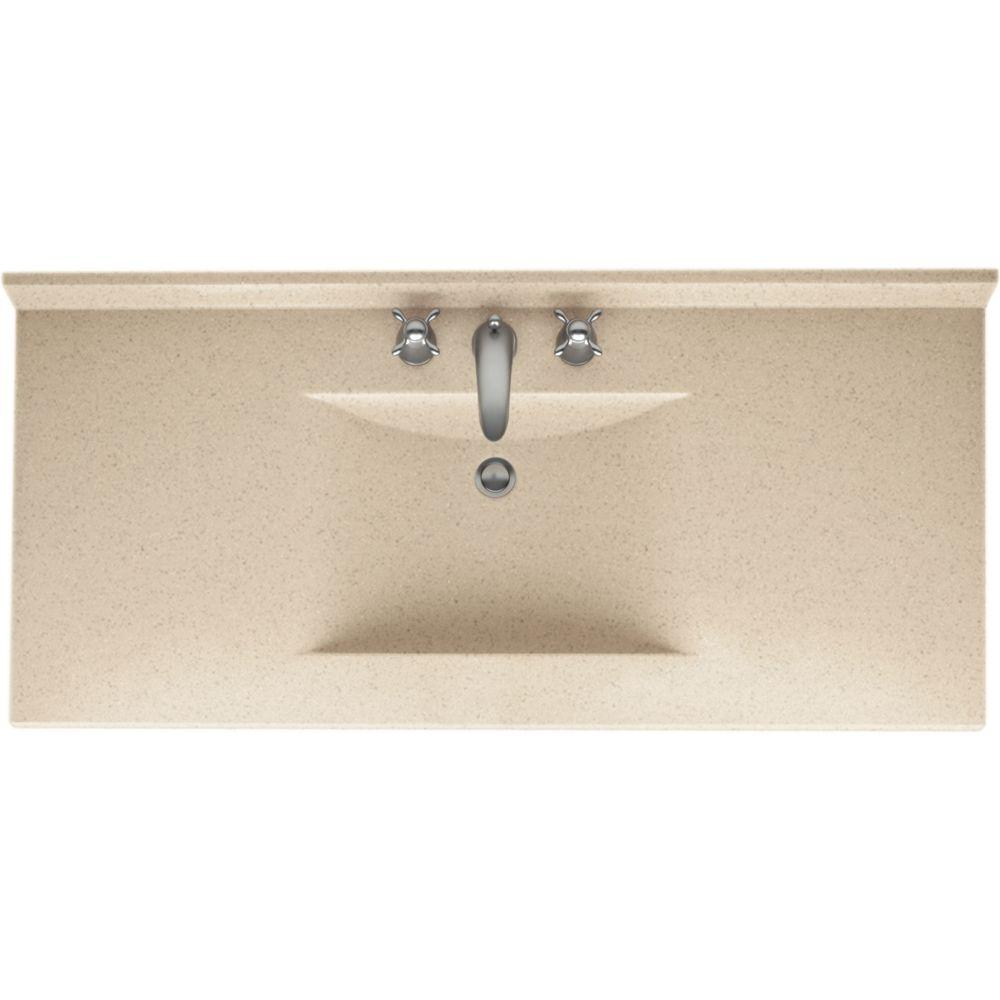 Swan Contour 43 in. W x 22 in. D x 10-1/4 in. H Solid-Surface Vanity Top in Bermuda Sand with Bermuda Sand Basin