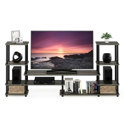Turn-N-Tube 78 in. French Oak Gray Particle Board Entertainment Center Fits TVs Up to 50 in. with Open Storage
