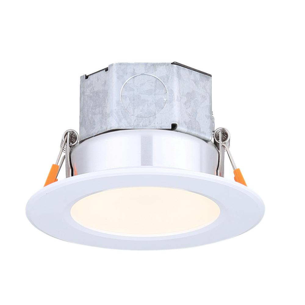 Round Veloce Down Light Length 4 25 In Warm White New Construction Recessed Integrated Led Trim Kit