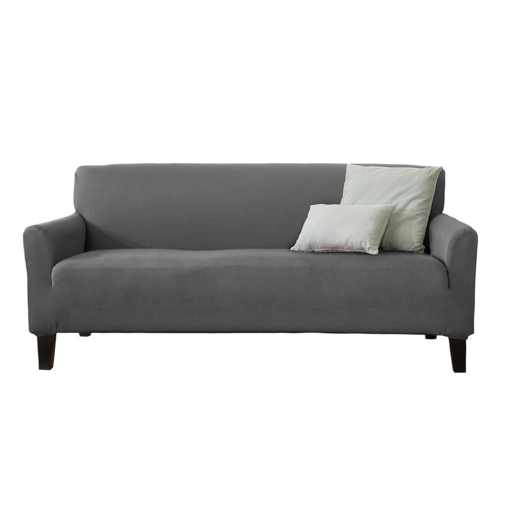 Dawson Collection Grey Twill Form Fit Sofa Slipcover