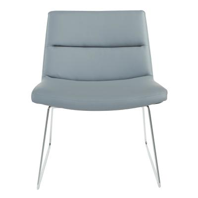 Gray Faux Leather with Chrome Sled Base Thompson Chair