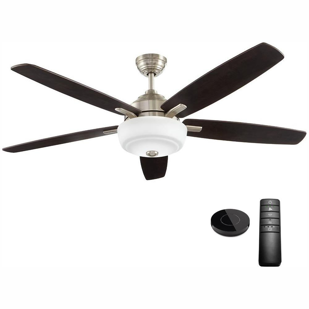 Home Decorators Collection Sudler Ridge 60 in. LED Brushed Nickel Ceiling Fan with Light Kit Works with Google Assistant and Alexa