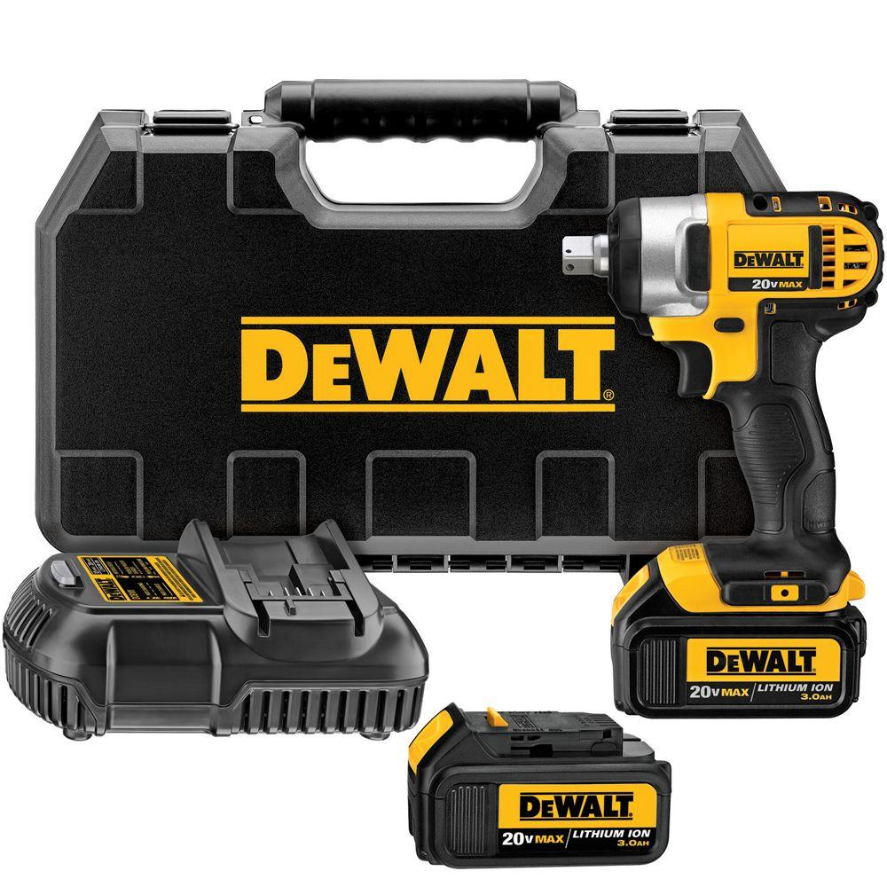 DEWALT 20-Volt Max Lithium-Ion 1/2 in. Impact Wrench Kit with Detent Pin