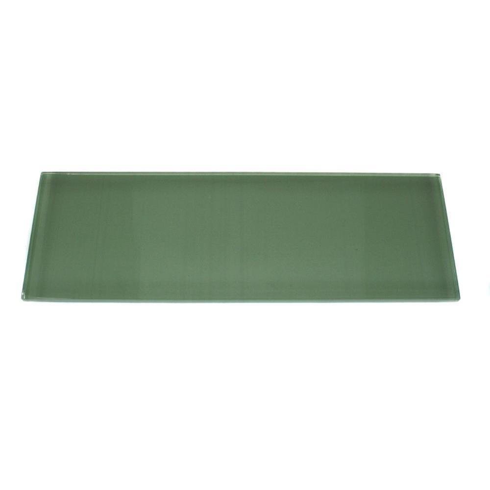 Splashback Tile Contempo Spa Green Polished Glass Mosaic Floor and Wall Tile - 3 in. x 6 in. x 8 mm Tile Sample