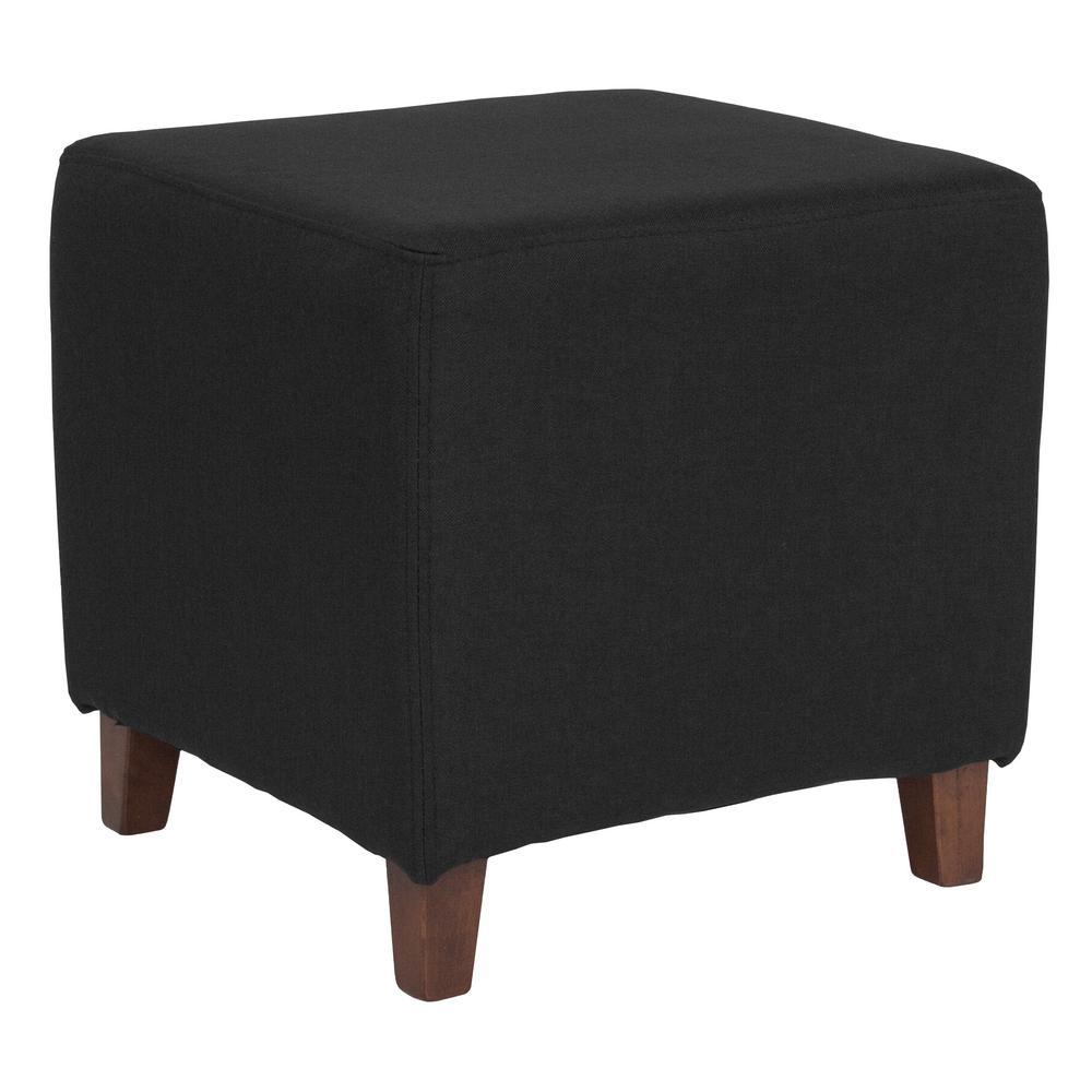 Black Fabric Ottoman