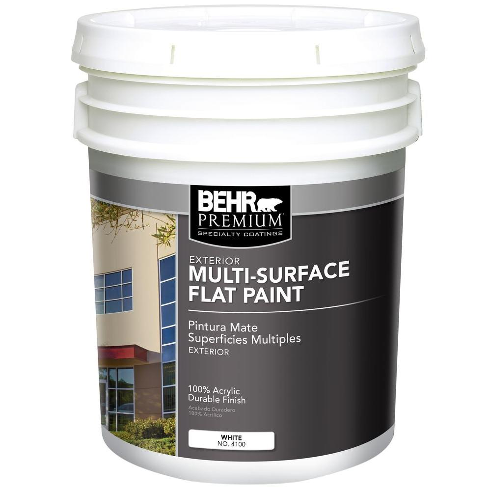 MSRFC 5 gal. White Premium Exterior Flat Paint and Primer in