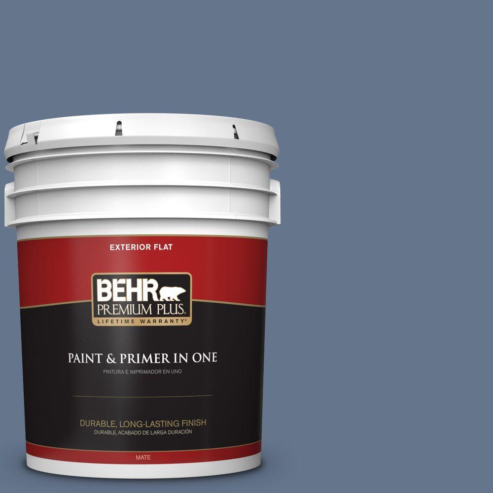 5-gal. #BXC-75 Saltbox Blue Flat Exterior Paint