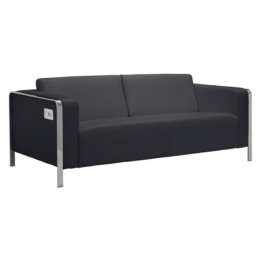 zuo thor black leatherette sofa 100389 the home depot rh homedepot com Catnapper Sofa Zuo Sofa Blue