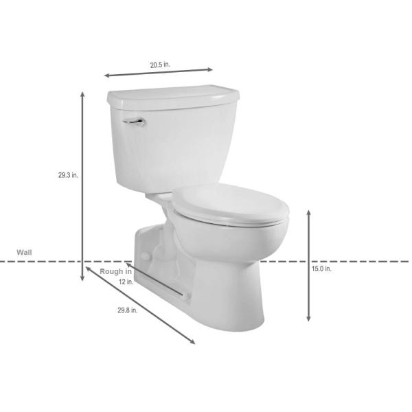American Standard Yorkville Pressure Assisted 2 Piece 1 6 Gpf Single Flush Elongated Toilet With Back Drain In White Seat Not Included 2876 016 020 The Home Depot