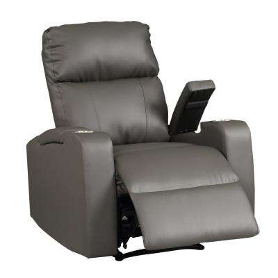 Terry Collection Modern Grey Upholstered Faux Leather with Electric Power Recliner Chair