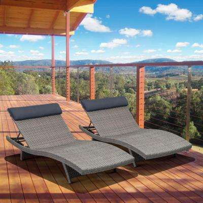 Florida Deluxe Gray All Weather Wicker Patio Chaise Lounge with Dark Gray Cushion (2-Set)