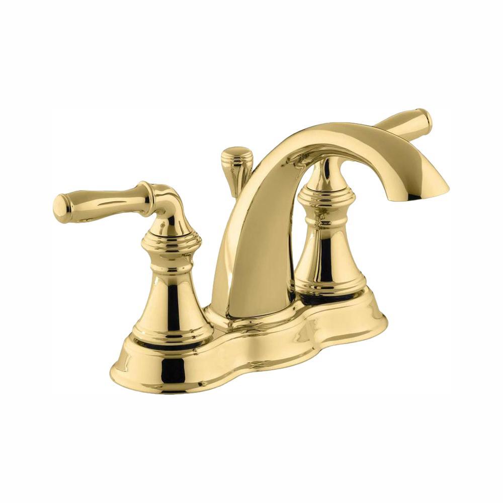 KOHLER Devonshire 4 in. Centerset 2-Handle Mid-Arc Water-Saving Bathroom Faucet in Vibrant Polished Brass