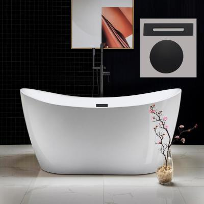 Carver 59 in. Acrylic Freestanding Double Slipper Flat Bottom Soaking Bathtub with Drain and Overflow Included in White