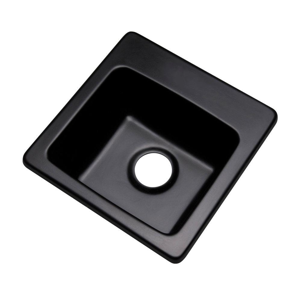 Mont Blanc Westminster Drop-In Composite Granite 16 in. 0-Hole Single Bowl Bar Sink in Black