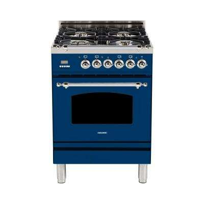 24 in. 2.4 cu. ft. Single Oven Dual Fuel Italian Range with True Convection, 4 Burners, LP Gas, Chrome Trim in Blue