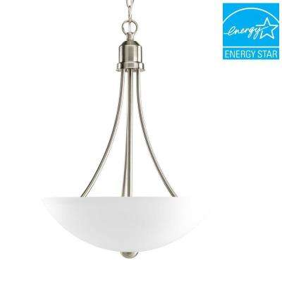 Gather Collection 2-Light Brushed Nickel Foyer Pendant with Etched Glass