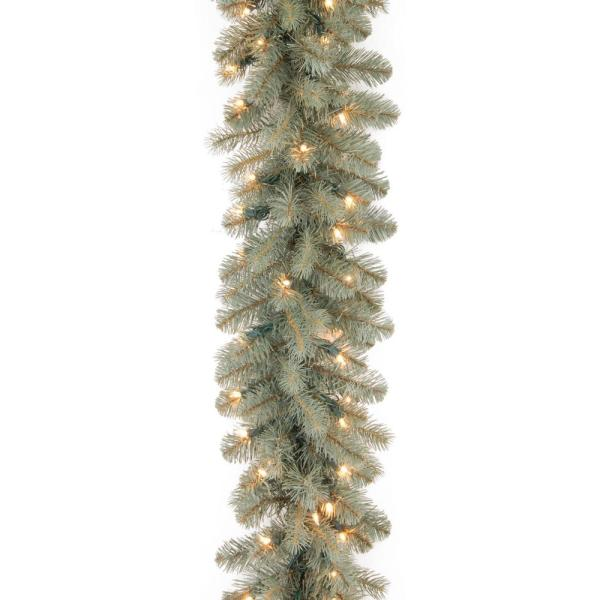 9 ft. Downswept Douglas Blue Garland with Clear Lights